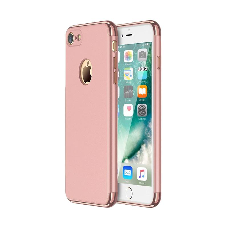 Fashion Case 3 in 1 Plated PC Frame Bumper with Frosted Hard Back Casing for or iPhone 7 - Rose Gold
