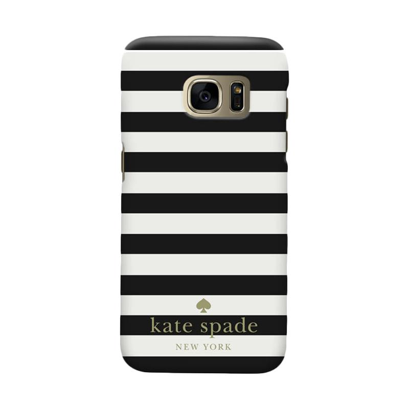 Indocustomcase Kate Spade Black Stripe RB Cover Casing for Samsung Galaxy S6 Edge