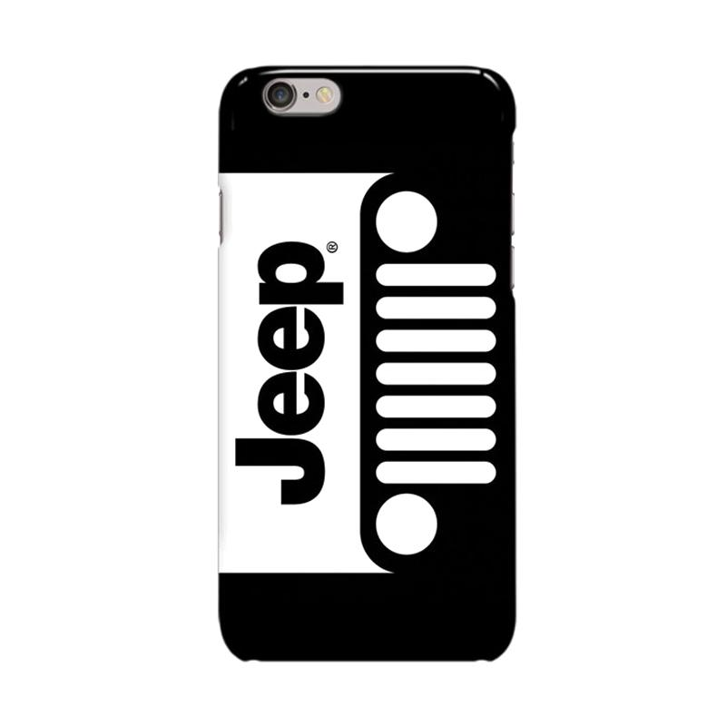Indocustomcase Jeep Black White Logo Cover Casing for Apple Iphone 6 Plus or 6S Plus