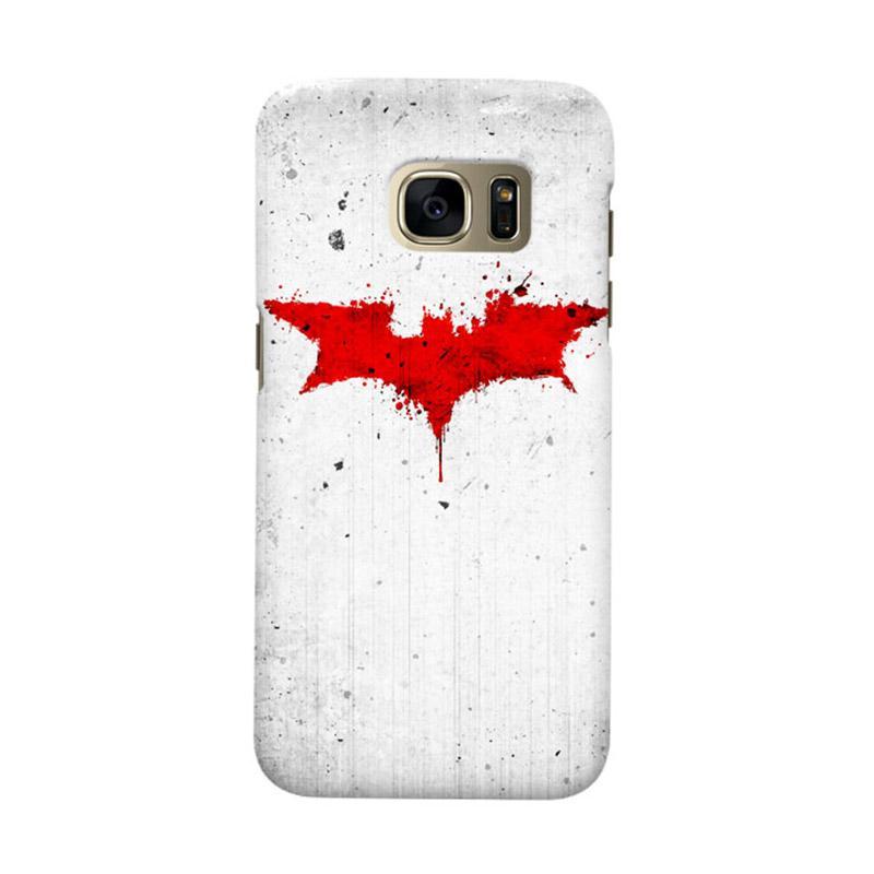 Indocustomcase Batman Grunge Logo White Cover Casing for Samsung Galaxy S7 Edge
