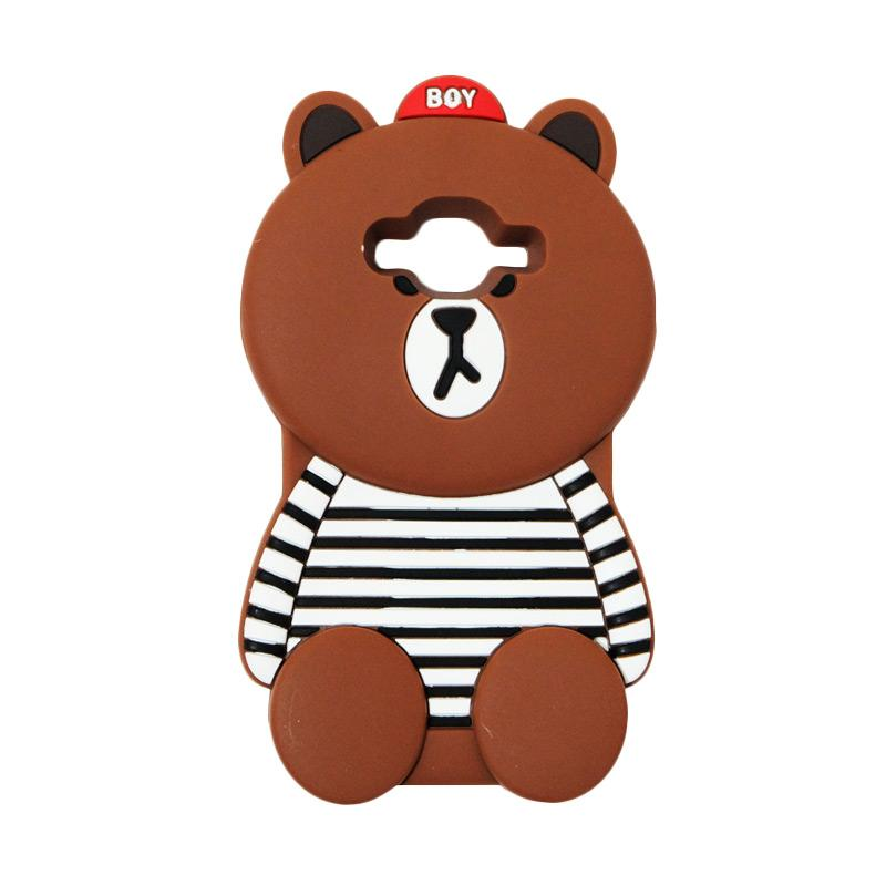 VR 3D Boy Bear Brown List Edition Silicon Softcase Casing for Samsung Galaxy Grand Prime G530 - Brown