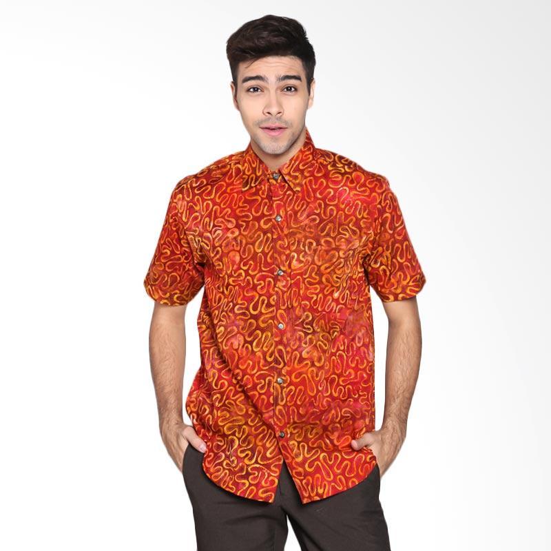 Batik Pria Tampan PKMPD-04081689C-Rust Men Continous Squiggle Slimfit Shirt Batik Pria