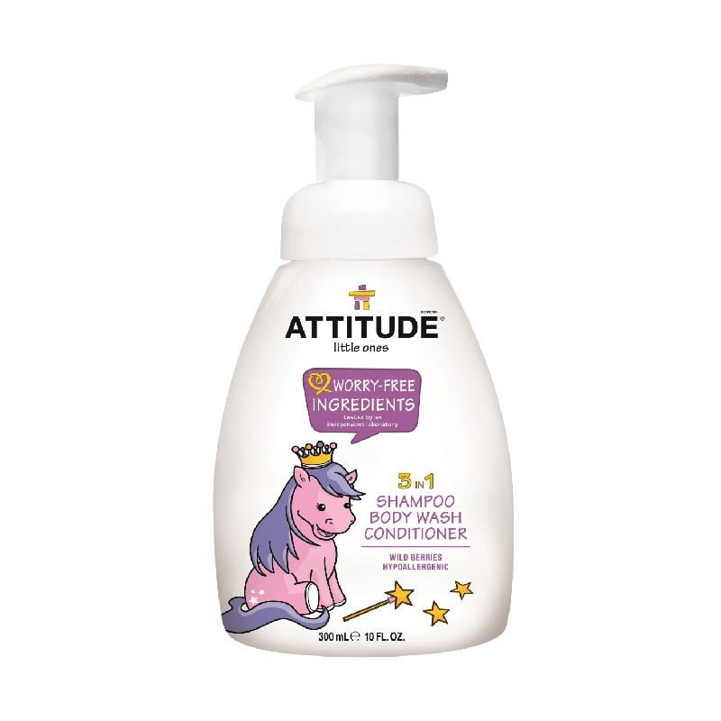 Attitude 3 In 1 Foaming Wash Wild Berries Shampoo/Body Wash/Conditioner Perawatan Kulit [300 mL]