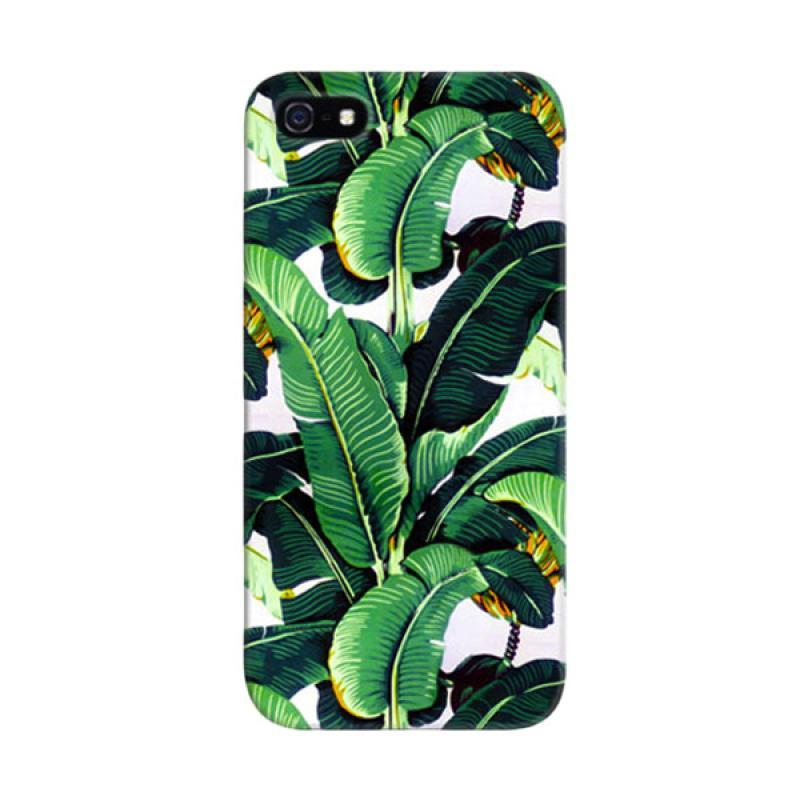Indocustomcase Banana Leaf Pattern Custom Cover Hardcase Casing for Apple iPhone 5/5S/SE