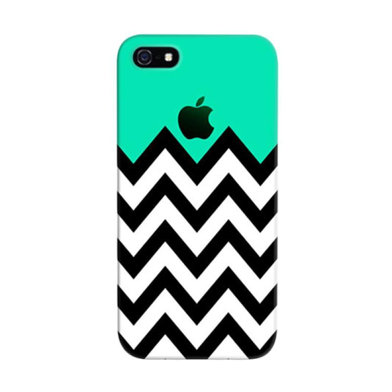 Indocustomcase Blue Black Chevron Striped Cover Hardcase Casing for Apple iPhone 5/5S/SE