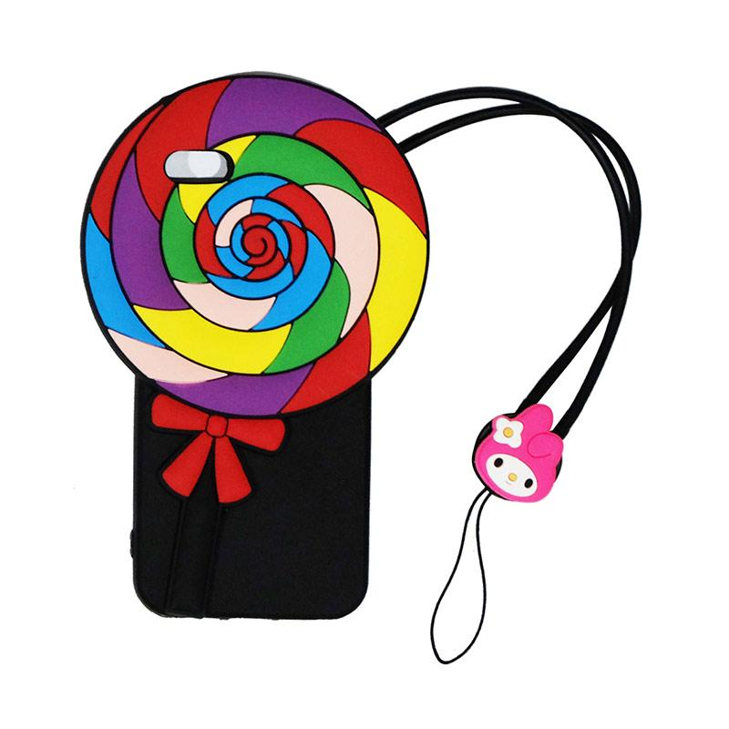 VR 3D Candy Lolipop Edition Silicon Softcase Casing with Tali Gantungan for Apple iPhone 5/ 5S/ 5SE - Black