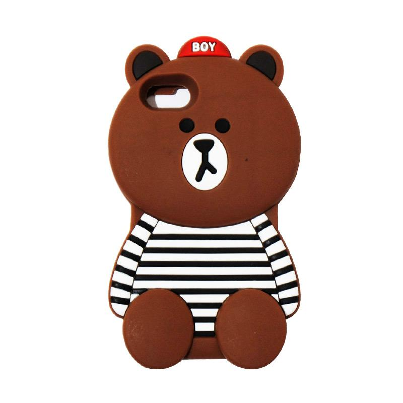 VR Silicon 3D Karakter Boy Bear Brown List Edition Softcase Casing for Apple iPhone 7/7G/7S 4.7 Inch - Brown