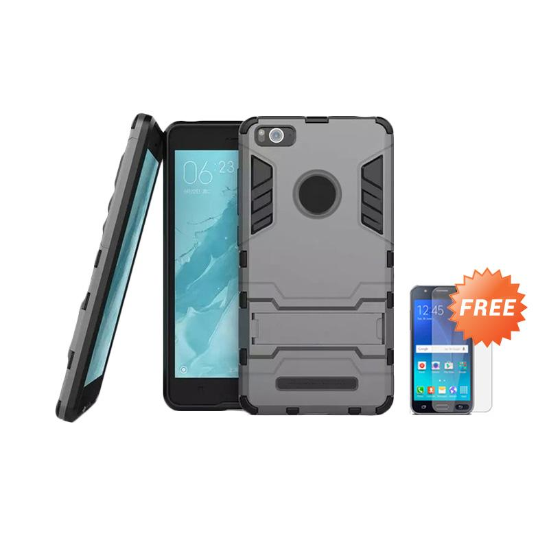 harga Case Shield Armor Kickstand Series Casing for Xiaomi Mi4i or Xiaomi Mi4c - Abu-Abu + Free Tempered Glass Blibli.com