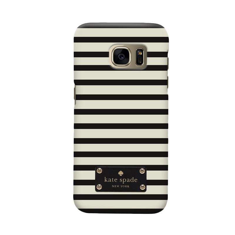 Indocustomcase Kate Spade Minimal Black Stripe Cover Casing for Samsung Galaxy S7 Edge