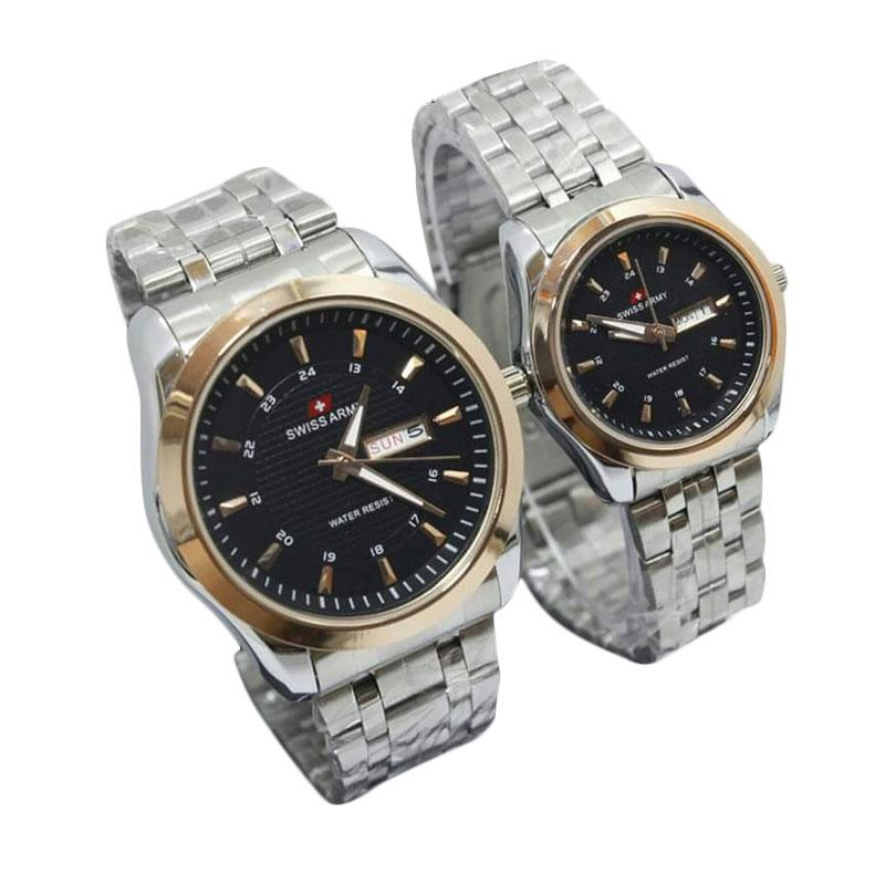 Swiss Army Couple SA2708AD Stainless Steel Jam Tangan Couple - White Black Gold
