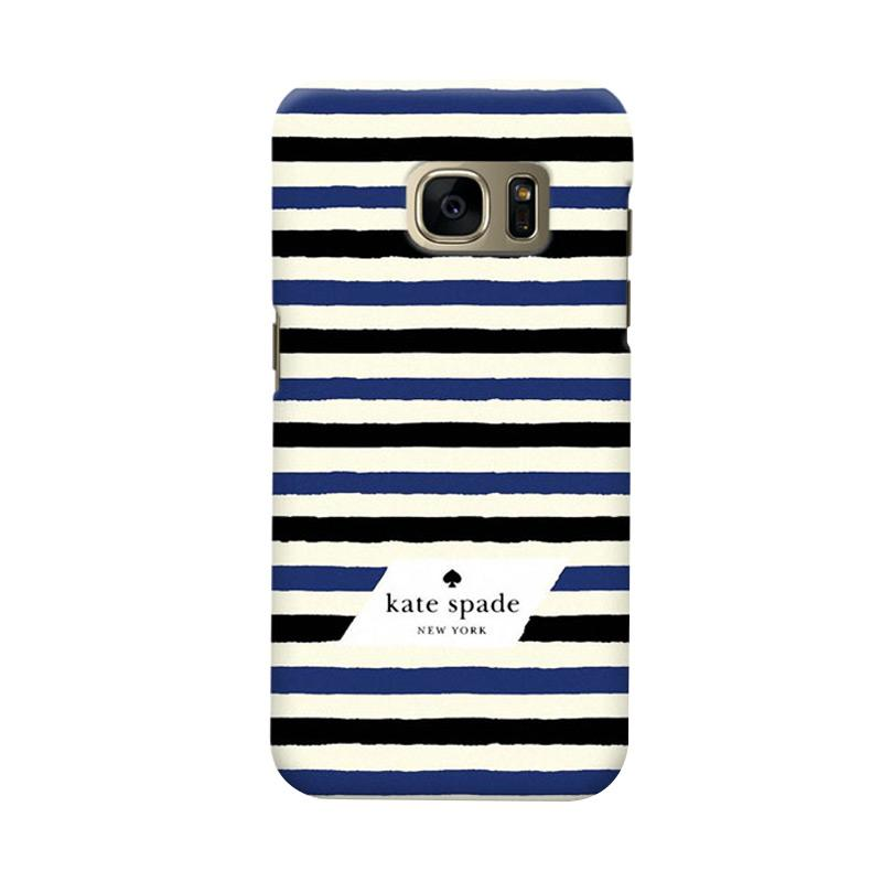 Indocustomcase Kate Spade Blue Black Stripe Cover Casing for Samsung Galaxy S6 Edge