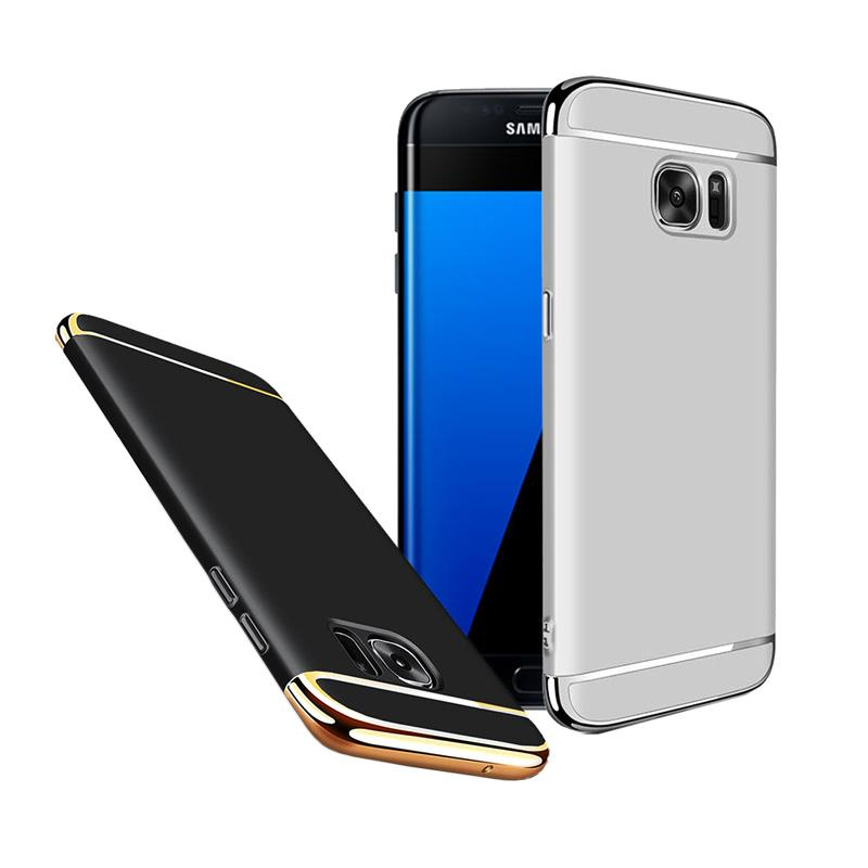 Fashion Case 3 in 1 Plated PC Frame Bumper with Frosted Hard Back Casing for Samsung S7 Edge - Silver