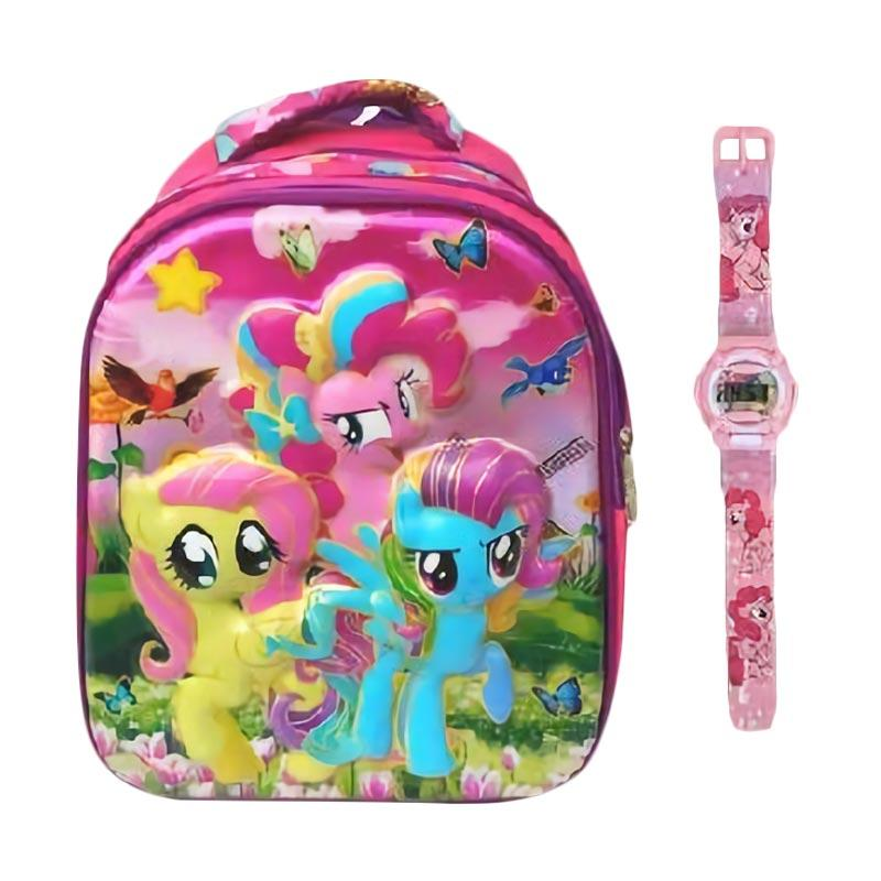 harga JCF TK Set My Little Pony 6 Dimensi Timbul Import Tas Ransel Anak Sekolah dan Jam Tangan Digital Blibli.com