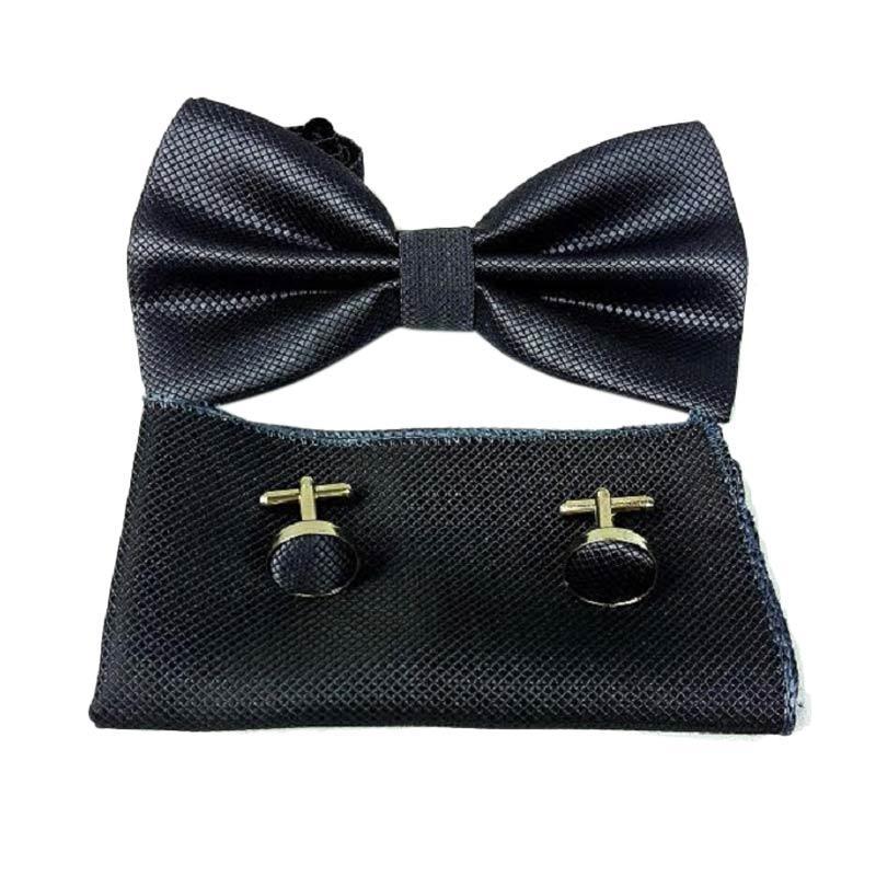 harga Houseofcuff Paket Akesoris Atasan Pria - Grey Dark [Bow Tie & Pocket Square & Cufflinks Manset] Blibli.com