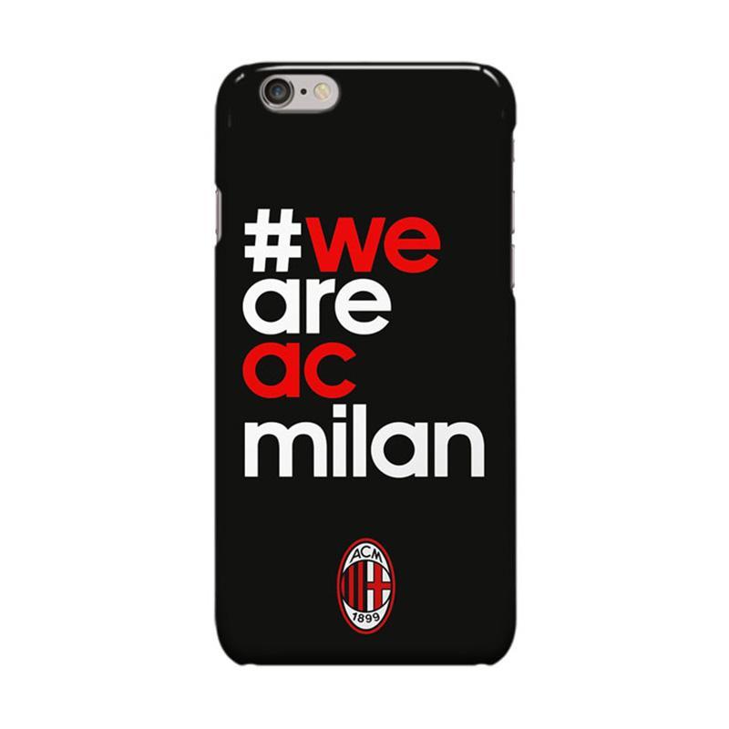 Indocustomcase AC Milan FC ACM01 We Are AC Milan Cover Casing for Apple iPhone 6 Plus or 6S Plus - Black