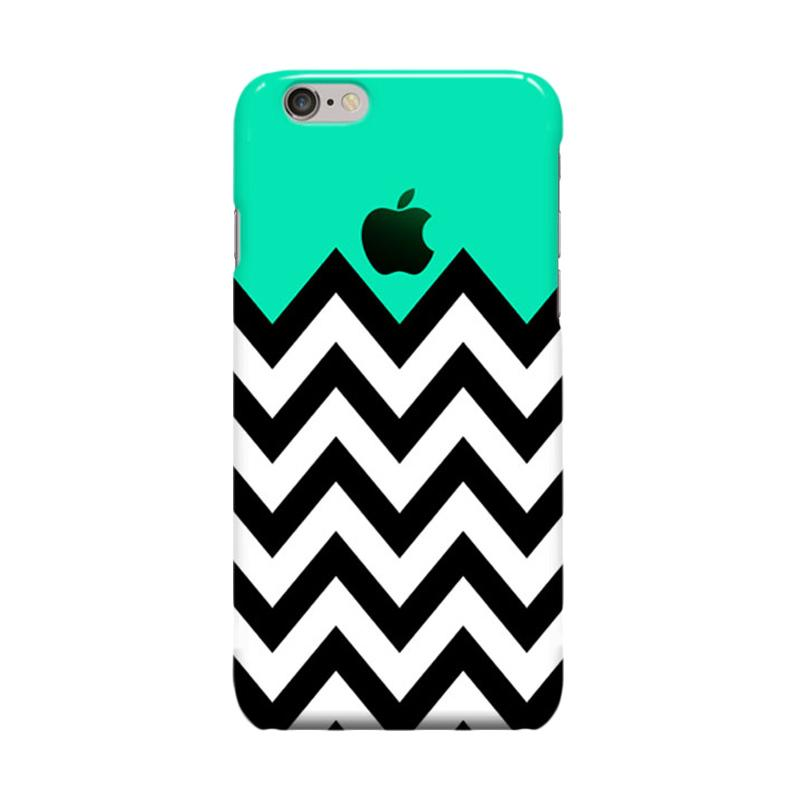 Indocustomcase Green Tosca On Chevron Cover Casing for Apple iPhone 6 Plus or 6S Plus