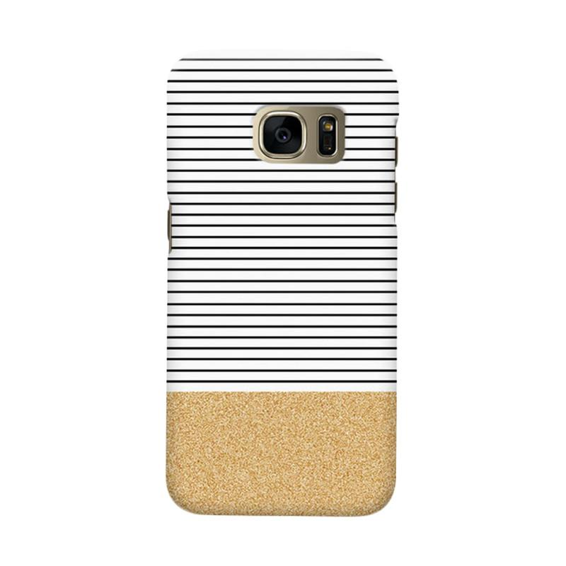 Indocustomcase Minimal Gold Glitter Stripes Cover Casing for Samsung Galaxy S6