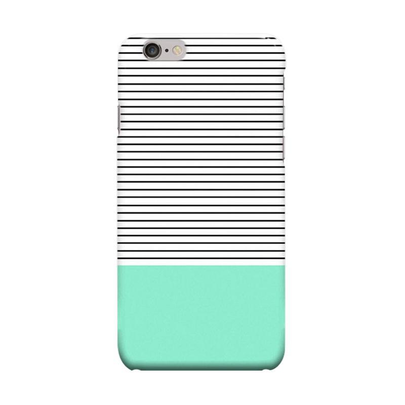 Indocustomcase Minimal Mint Stripes Cover Casing for Apple iPhone 6 Plus or 6S Plus