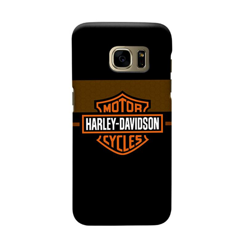 Indocustomcase Harley Davidson Logo Carbon Cover Casing for Samsung Galaxy S7 Edge