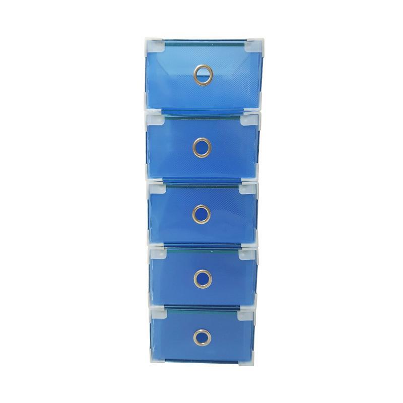 5 Pcs Miracle Kotak Sepatu Slide dengan List Metal, Ring dan Sudut Plastik - Transparan Blue [Size M]