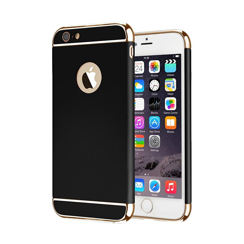 Fashion Case 3 in 1 Plated PC Frame Bumper with Frosted Hard Back Casing for iPhone 6 or iPhone 6S - Black