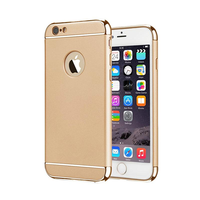 Fashion Case 3 in 1 Plated PC Frame Bumper with Frosted Hard Back Casing for iPhone 6 or iPhone 6S - Gold