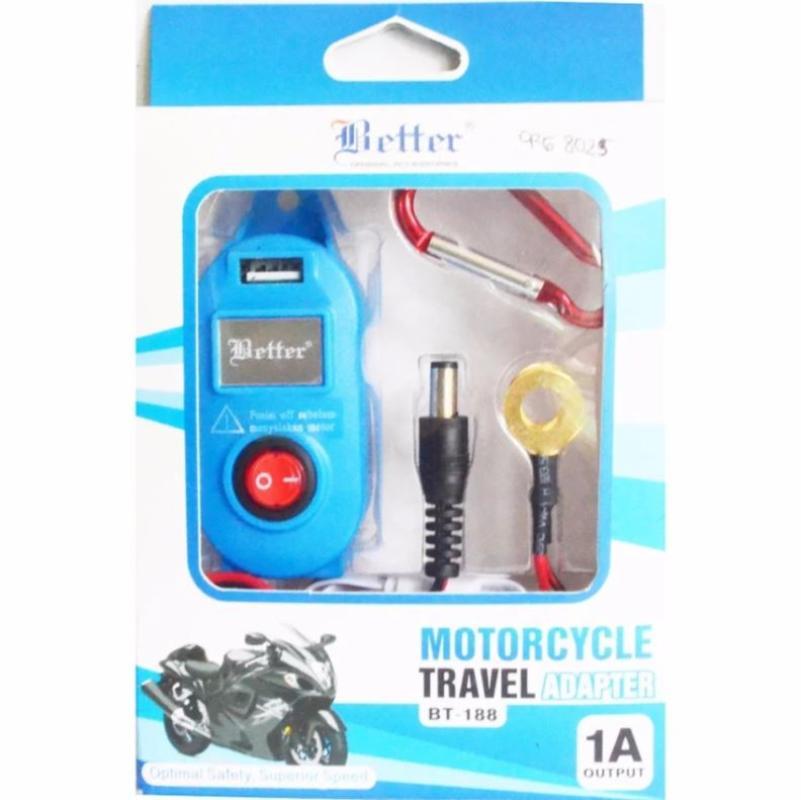 Raja Motor Better Perlengkapan Berkendara Charger USB Mobile Handphone di Motor - Biru [CRG8025-Biru]