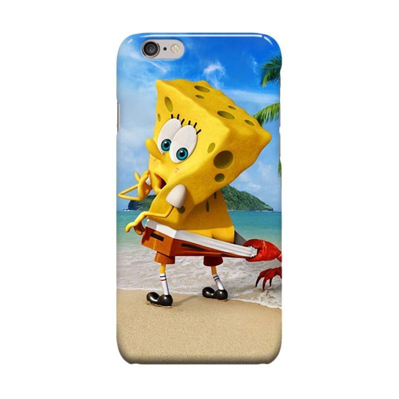 Indocustomcase Cartoon Spongebob On The Beach Casing for Apple iPhone 6 Plus or 6S Plus