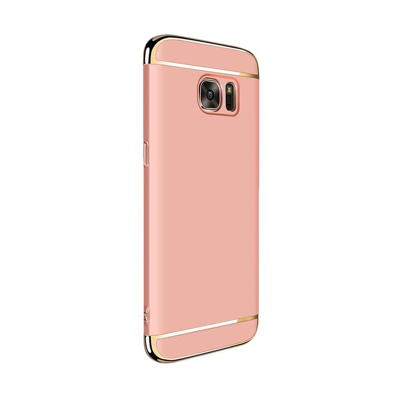 Fashion Case 3 in 1 Plated PC Frame Bumper with Frosted Hard Back Casing for Samsung S7 Edge - Rose Gold