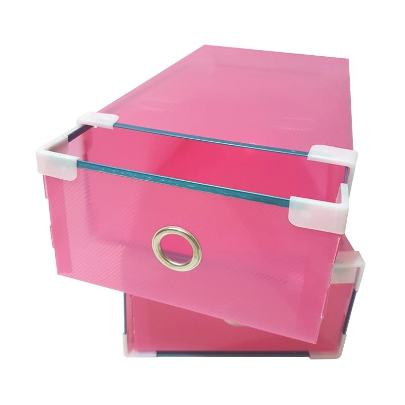5 Pcs Miracle Kotak Sepatu Slide dengan List Metal, Ring, dan Sudut Plastik - Transparan Pink [Size M]