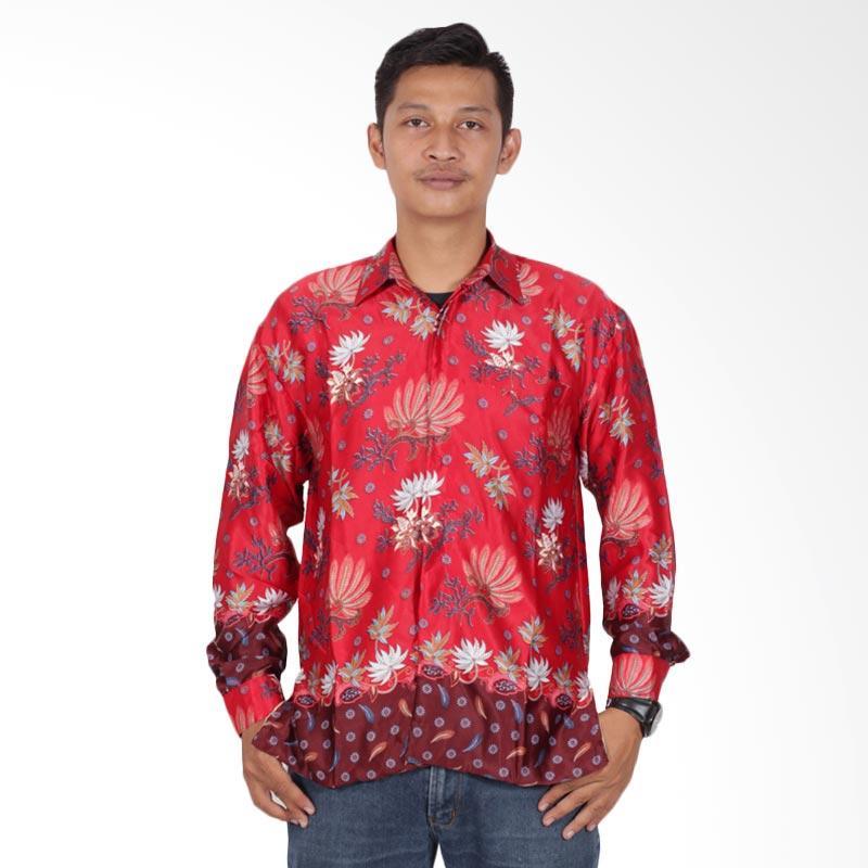 Batik Putri Ayu Solo Semi Sutra Furing Kemeja Batik Pria Lengan Panjang KPJ201 - Merah