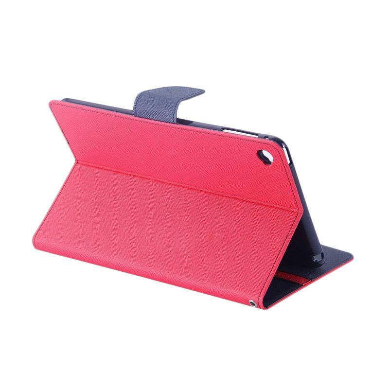 Goospery Mercury Original Wallet Fancy Diary Flip Cover Casing for iPad Mini 4 - Magenta Navy