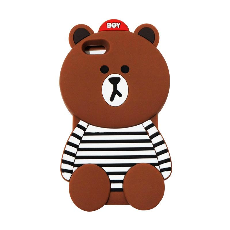 VR Silicon 3D Karakter Boy Bear Brown List Edition Softcase Casing for Apple iPhone 6 Plus 5.5 Inch - Brown