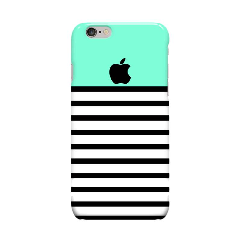 Indocustomcase Green Tosca Black Stripe Cover Casing for Apple iPhone 6 Plus or 6S Plus
