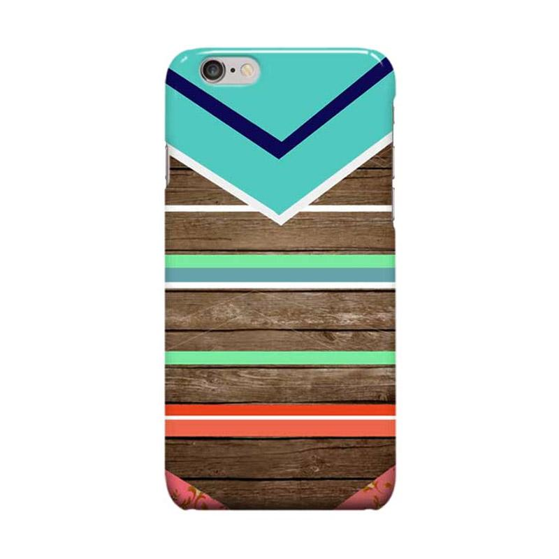 Indocustomcase Wooden Geometric Tosca Casing for Apple iPhone 6 Plus or iPhone 6S Plus