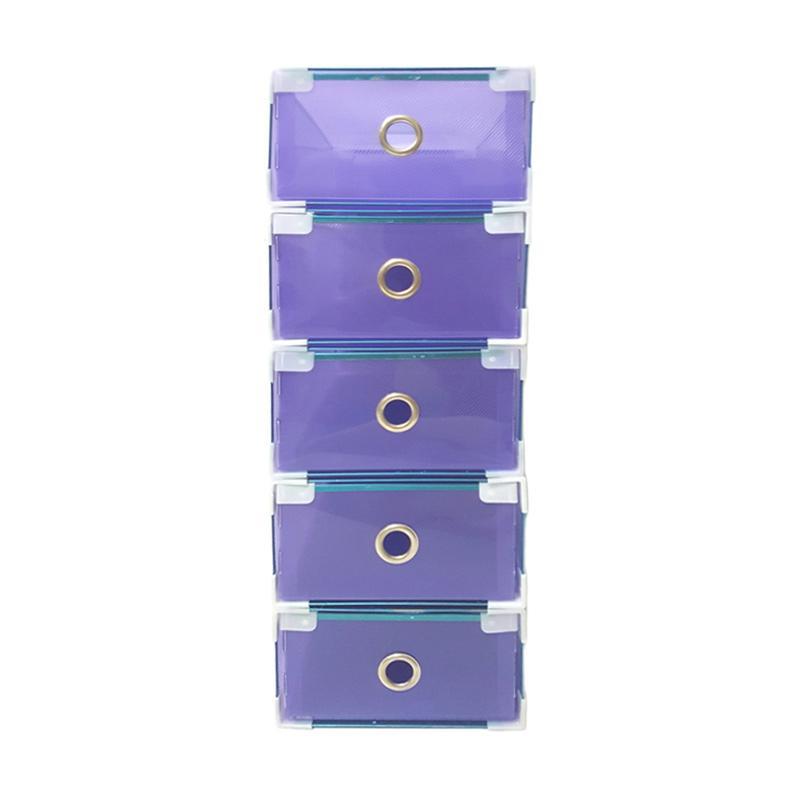 5 Pcs Miracle Kotak Sepatu Slide dengan List Metal, Ring, dan Sudut Plastik - Transparan Ungu [Size M]