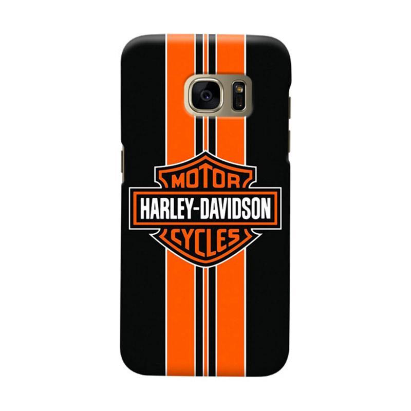 Indocustomcase Harley Davidson Stripe Logo Cover Casing for Samsung Galaxy S6 Edge
