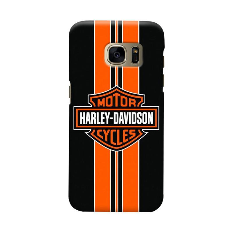 Indocustomcase Harley Davidson Stripe Logo Cover Casing for Samsung Galaxy S7 Edge