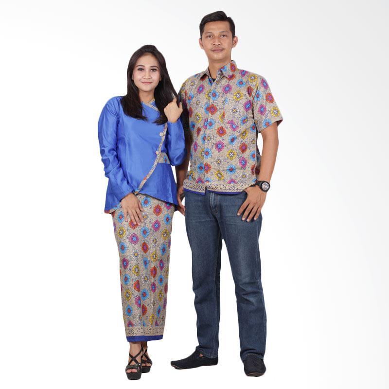 harga Batik Putri Ayu Solo Sarimbit Modern Semi Sutra Prada srd200 Baju Batik Couple - Biru Blibli.com