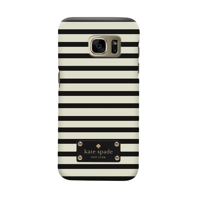 Indocustomcase Kate Spade Minimal Black Stripe Cover Casing for Samsung Galaxy S6 Edge