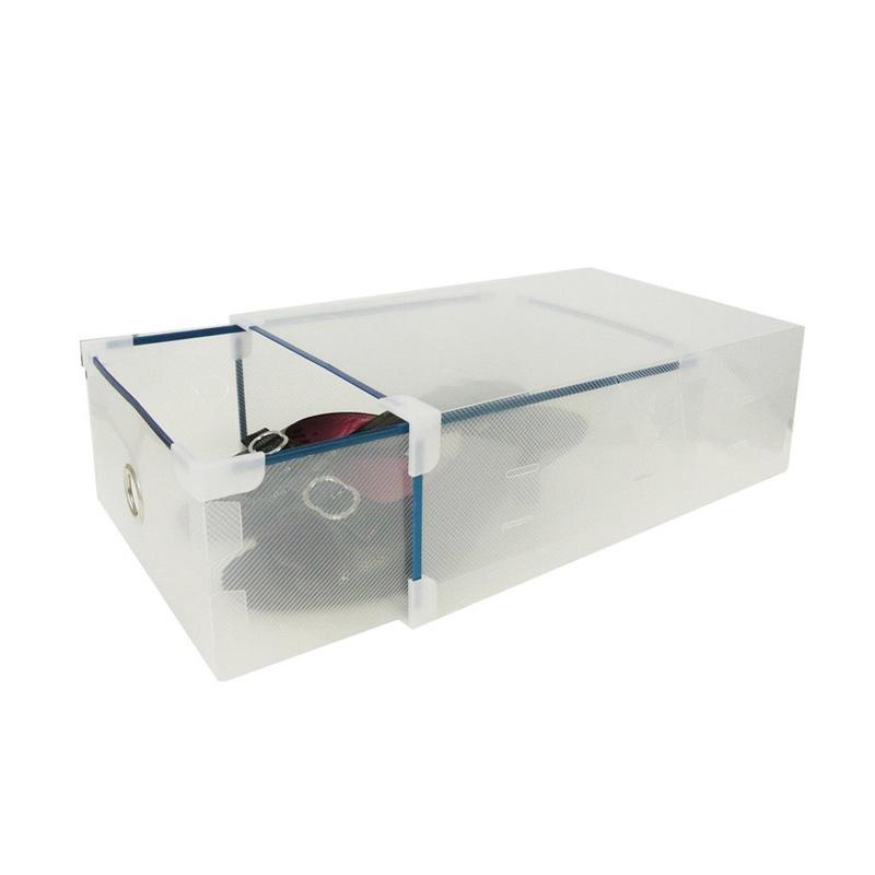 5 Pcs Miracle Kotak Sepatu Slide dengan List Metal, Ring, dan Sudut - Transparan Clear [Size L]