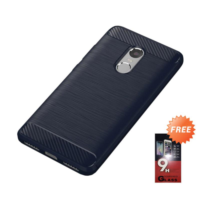 Ipaky Carbon Armor Anti Shock Casing for Xiaomi Redmi Note 4 [Hitam] + Free Tempered Glass