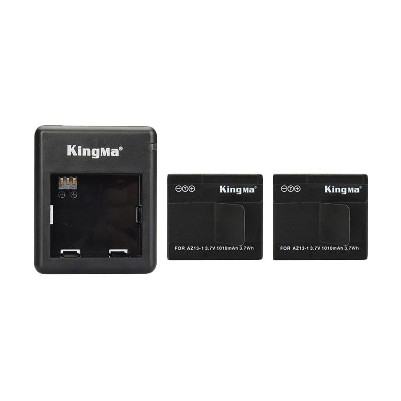 Kingma Combo Complete Set Battery Charger for Xiaomi Yi Action Camera - Hitam [2 Battery/1 Charger]