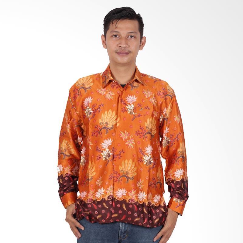 Batik Putri Ayu Solo Semi Sutra Furing Kemeja Batik Pria Lengan Panjang KPJ201 - Kuning