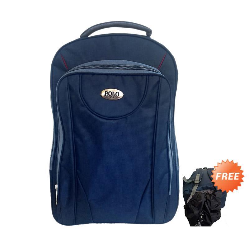 Polo USA Rasta Ocean Laptop Tas Ransel Pria - Biru Donker + Free Pelindung Hujan
