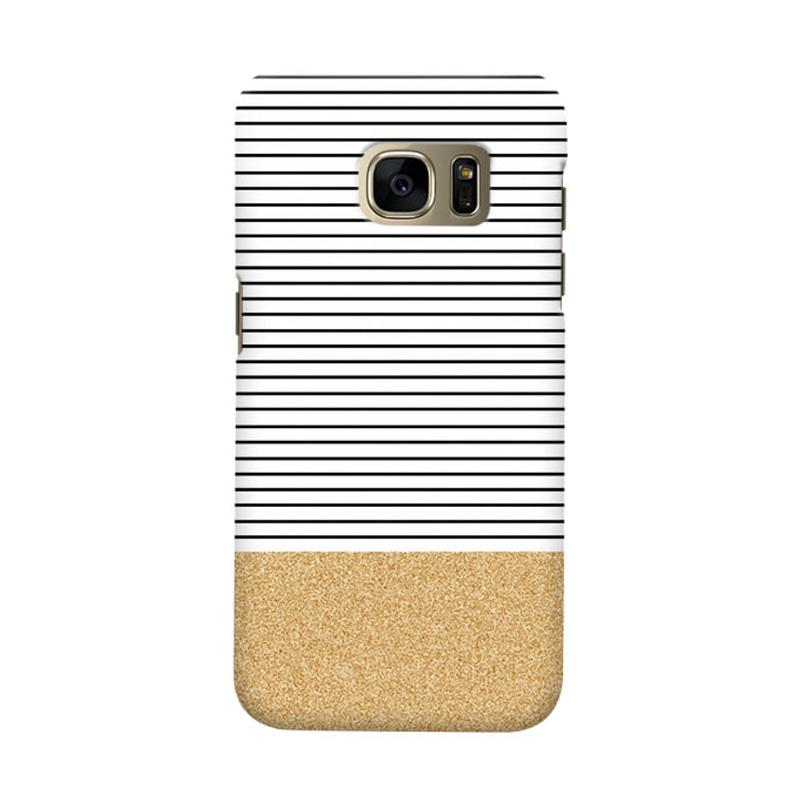 Indocustomcase Minimal Gold Glitter Stripes Cover Casing for Samsung Galaxy S6 Edge
