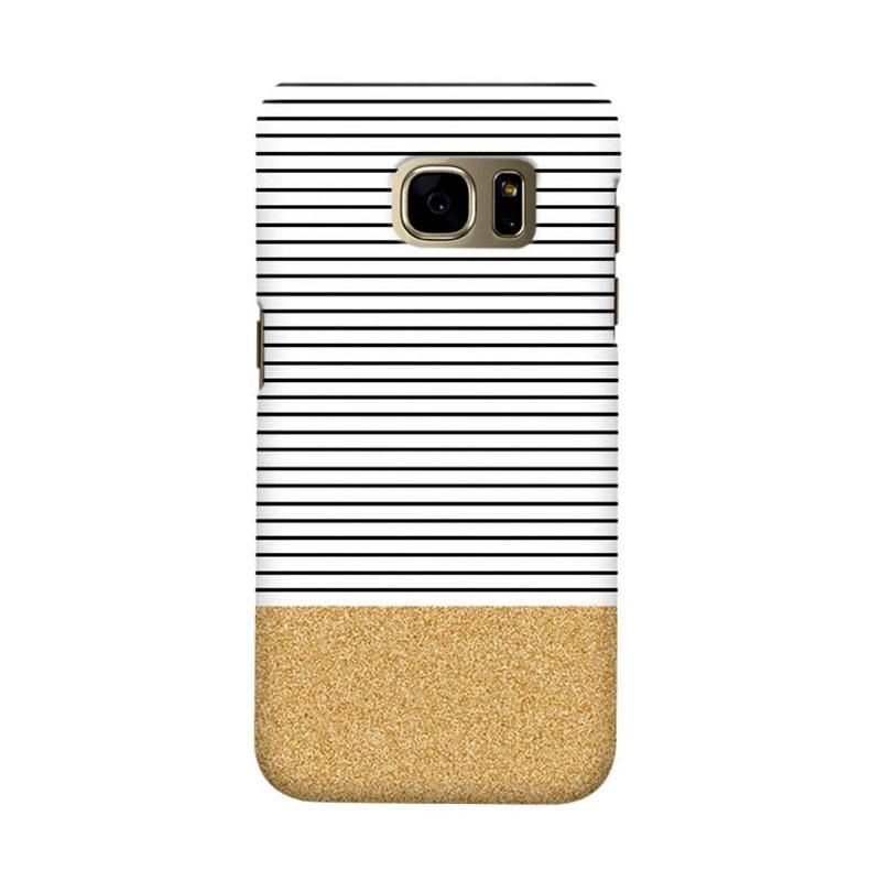 Indocustomcase Minimal Gold Glitter Stripes Cover Hardcase Casing for Samsung Galaxy S7 Edge