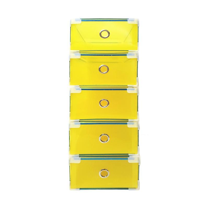 Miracle Kotak Sepatu Slide Plastik dengan List Metal, Ring, dan Sudut - Transparan Kuning [Size M / 5 pcs]