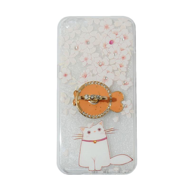 VR Swarovski Cat 7 Ultrathin Silicone Softcase Casing with Diamond Ring Stand for Oppo A39