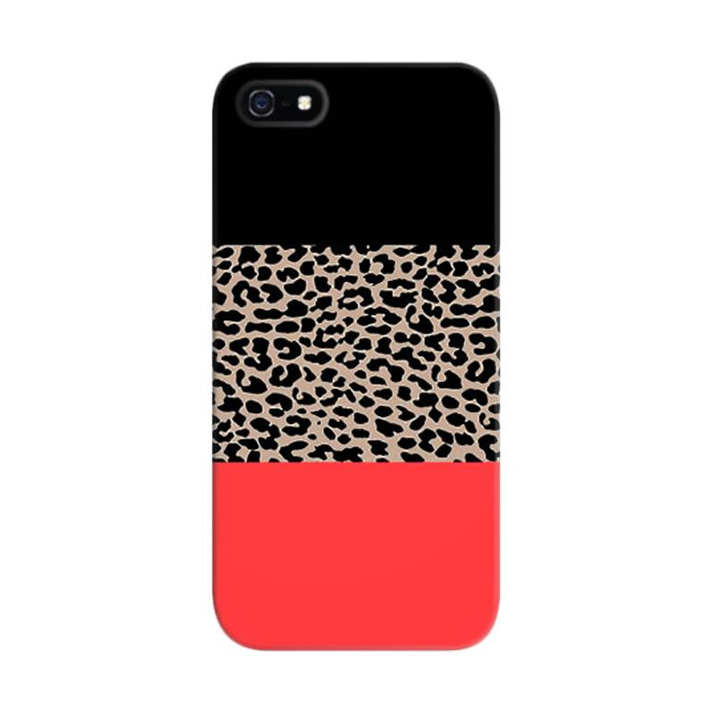 Indocustomcase Leopard National Flag Black Pink Custom Hardcase Casing for Apple iPhone 5/5S/SE